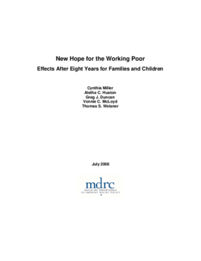 New Hope for the Working Poor: Effects After Eight Years for Families and Children