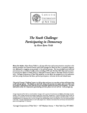 The Youth Challenge: Participating in Democracy