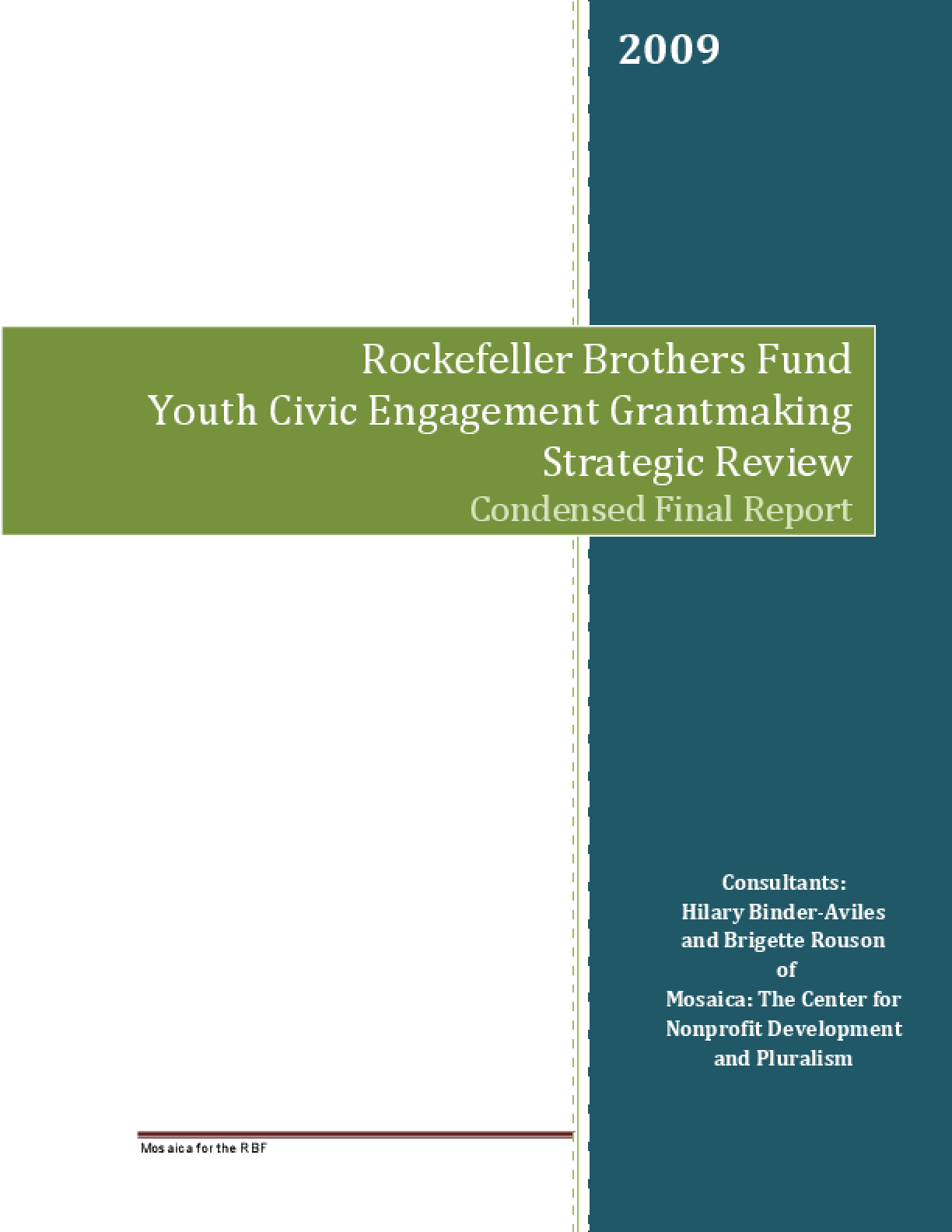 Youth Civic Engagement Grantmaking: Strategic Review