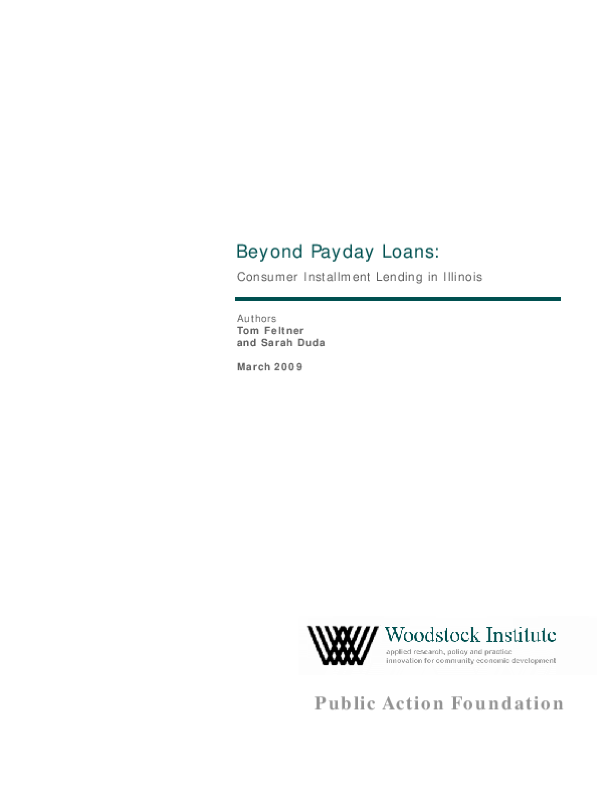 Beyond Payday Loans: Consumer Installment Lending in Illinois