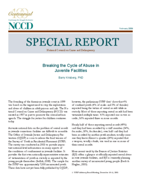 Breaking the Cycle of Abuse in Juvenile Facilities