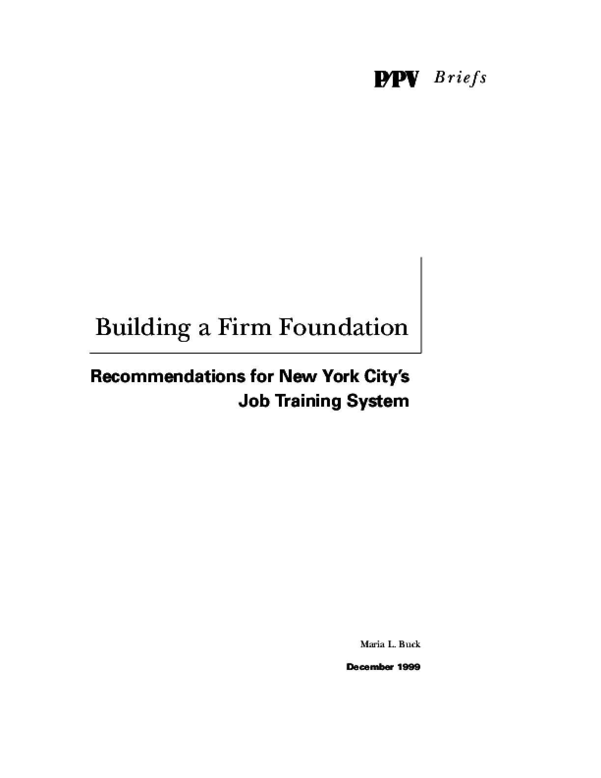 Building a Firm Foundation: Recommendations for New York City's Job Training System