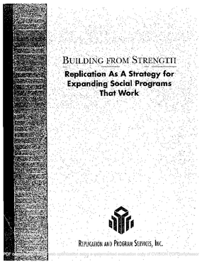 Building From Strength: Replication As a Strategy for Expanding Social Programs That Work