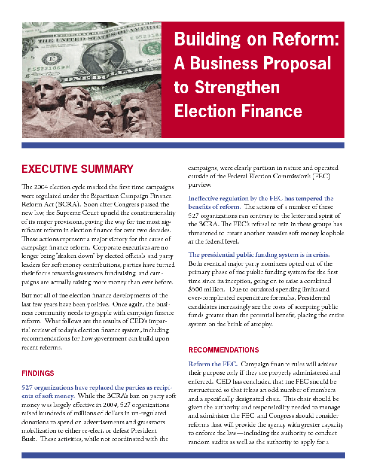 Building on Reform: A Business Proposal to Strengthen Campaign Finance - Executive Summary
