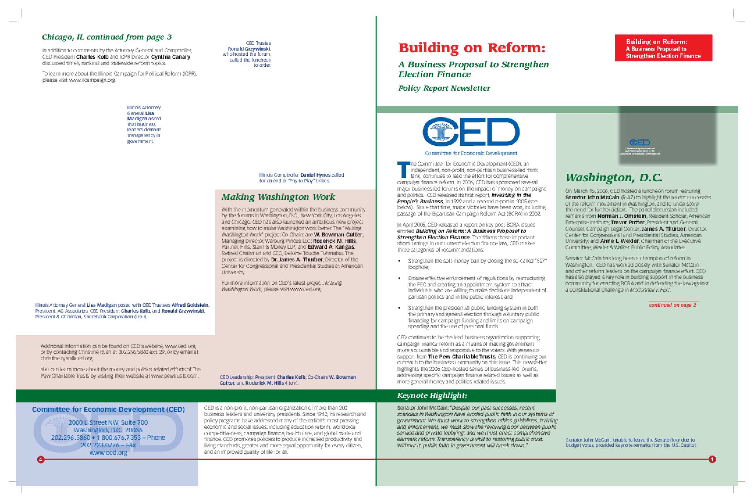 Building on Reform: A Business Proposal to Strengthen Election Finance - Policy Report Newsletter, Fall 2006