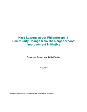 Hard Lessons about Philanthropy & Community Change from the Neighborhood Improvement Initiative
