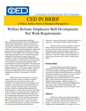CED in Brief: Welfare Reform: Emphasize Skill Development, Not Work Requirements