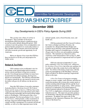 CED Washington Brief: Key Developments in CED's Policy Agenda During 2005