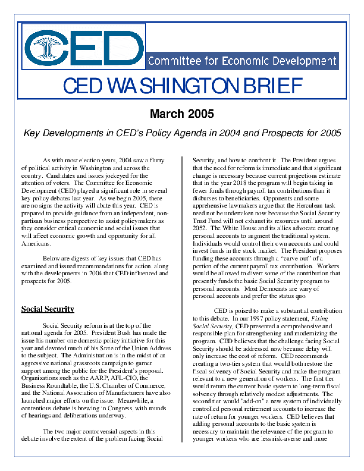 CED Washington Brief: Key Developments in CED's Policy Agenda in 2004 and Prospects for 2005