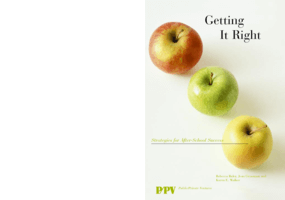 Getting It Right: Strategies for After-School Success
