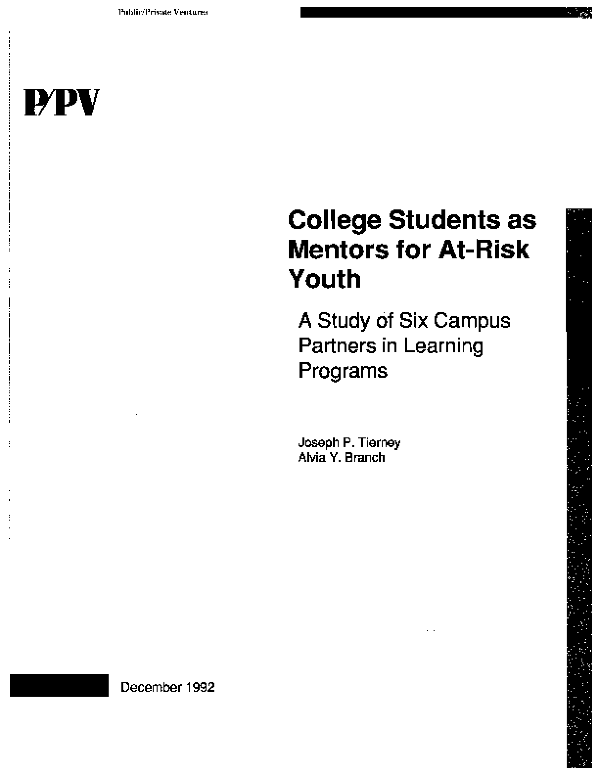 College Students as Mentors for At-Risk Youth: A Study of Six Campus Partners in Learning Programs