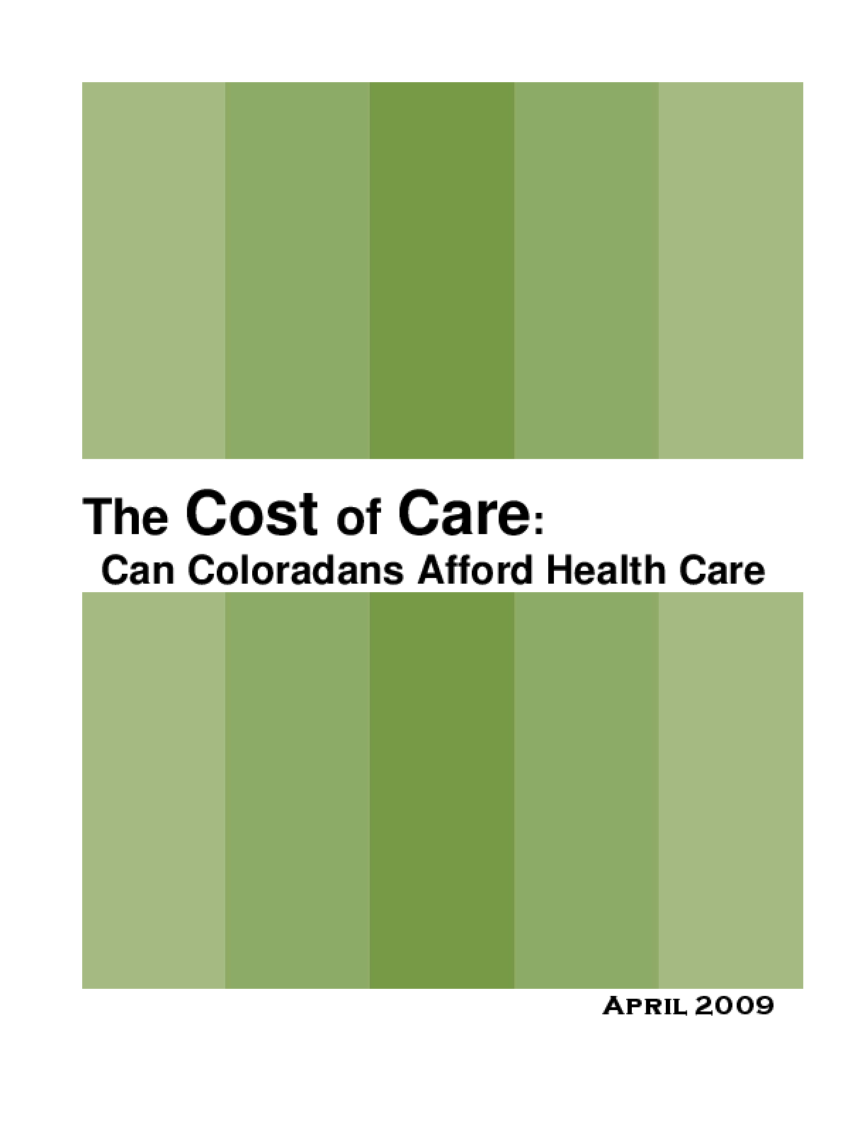 Cost of Care: Can Coloradans Afford Health Care? (Full Report)