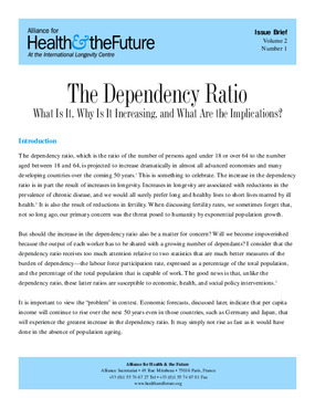 The Dependency Ratio: What Is It, Why Is It Increasing, and What Are the Implications of the Increase?