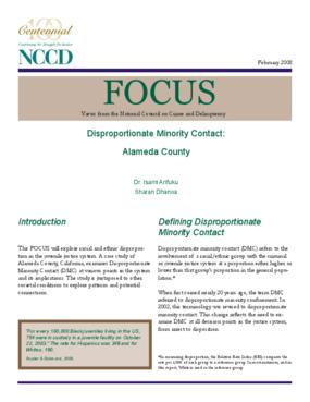 Disproportionate Minority Contact: Alameda County