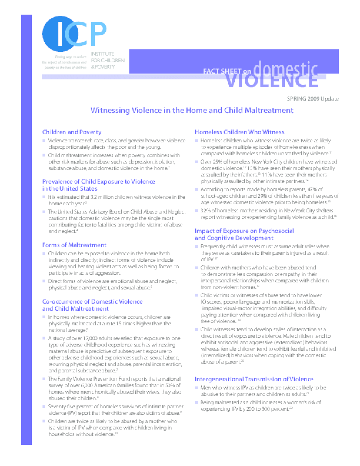 Domestic Violence - Witnessing Violence in the Home and Child Maltreatment