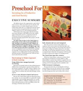The Economic Promise of Investing in High-Quality Preschool: Using Early Education to Improve Economic Growth and the Fiscal Sustainability of States and the Nation - Executive Summary