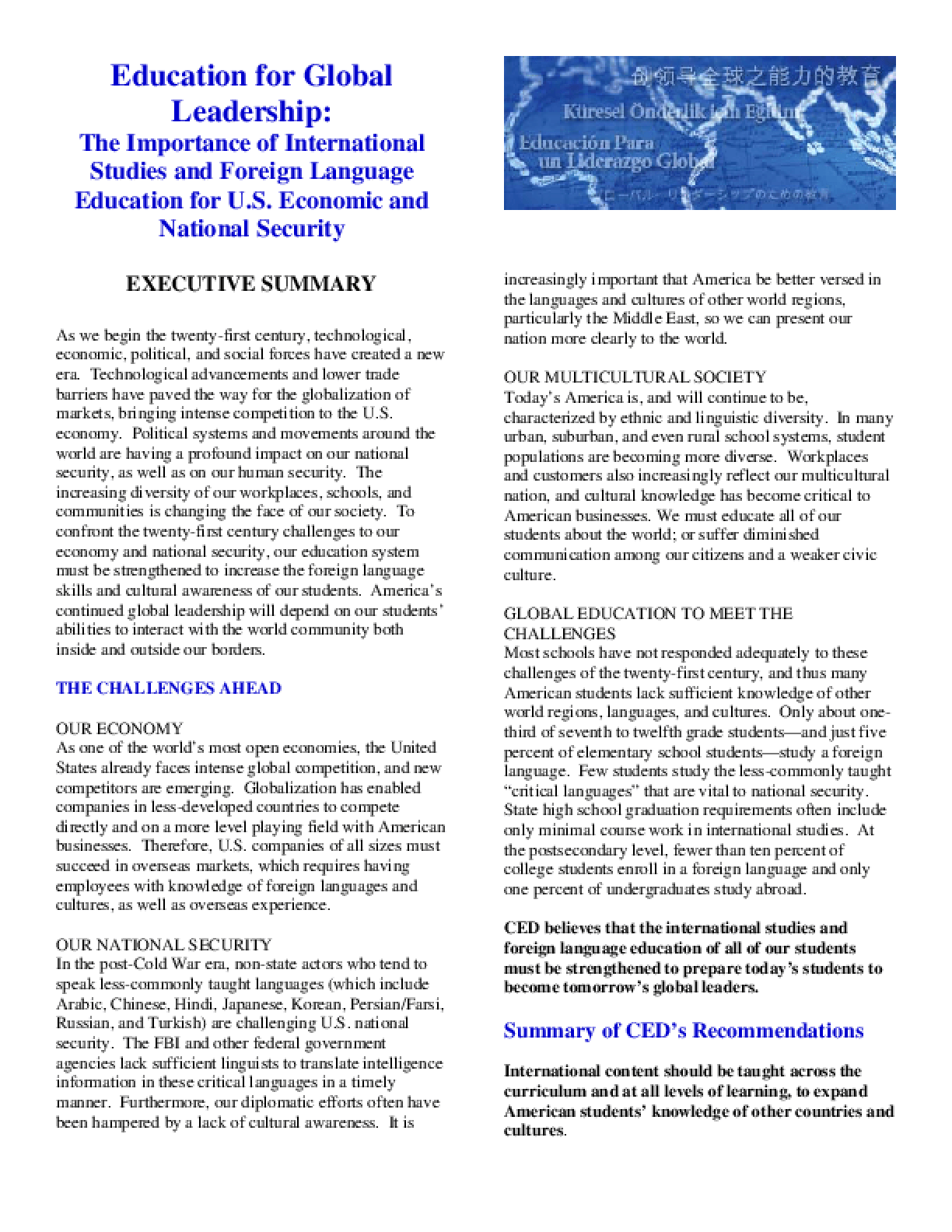Education for Global Leadership: The Importance of International Studies and Foreign Language Education for U.S. Economic and National Security - Executive Summary