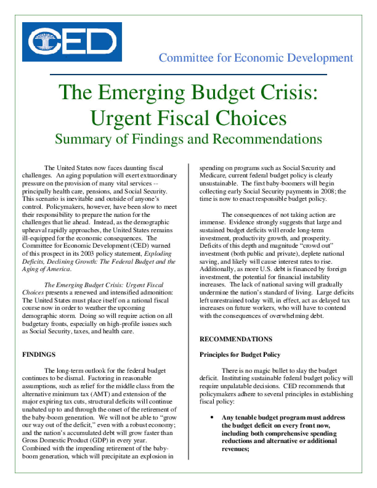 The Emerging Budget Crisis: Urgent Fiscal Choices - Executive Summary