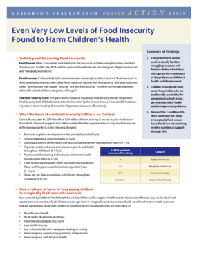 Even Very Low Levels of Food Insecurity Found to Harm Children's Health