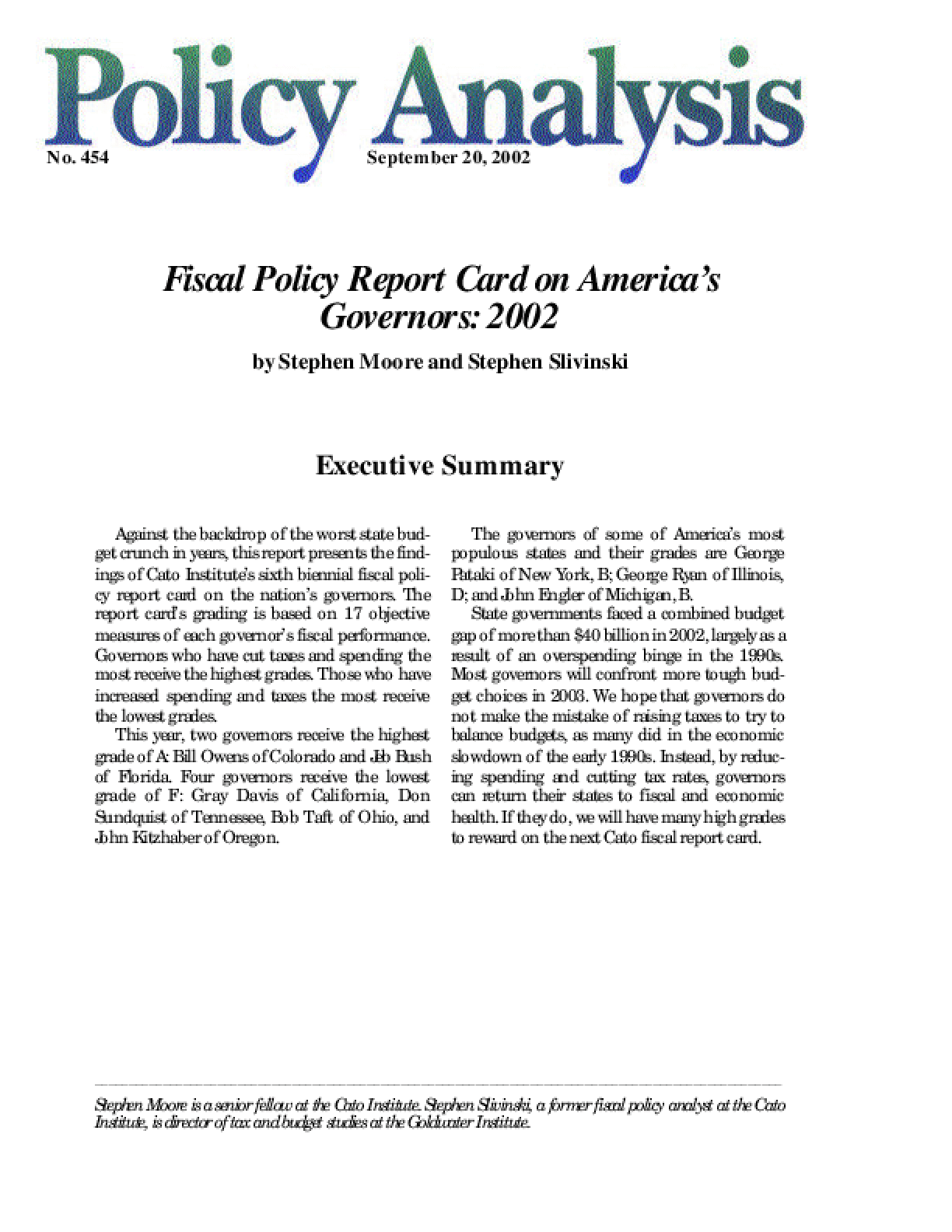 Fiscal Policy Report Card on America's Governors: 2002