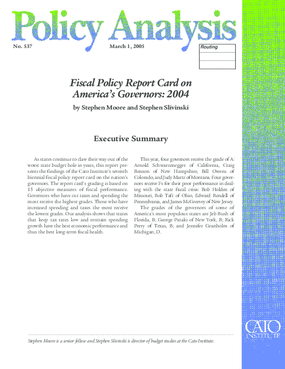 Fiscal Policy Report Card on America's Governors: 2004