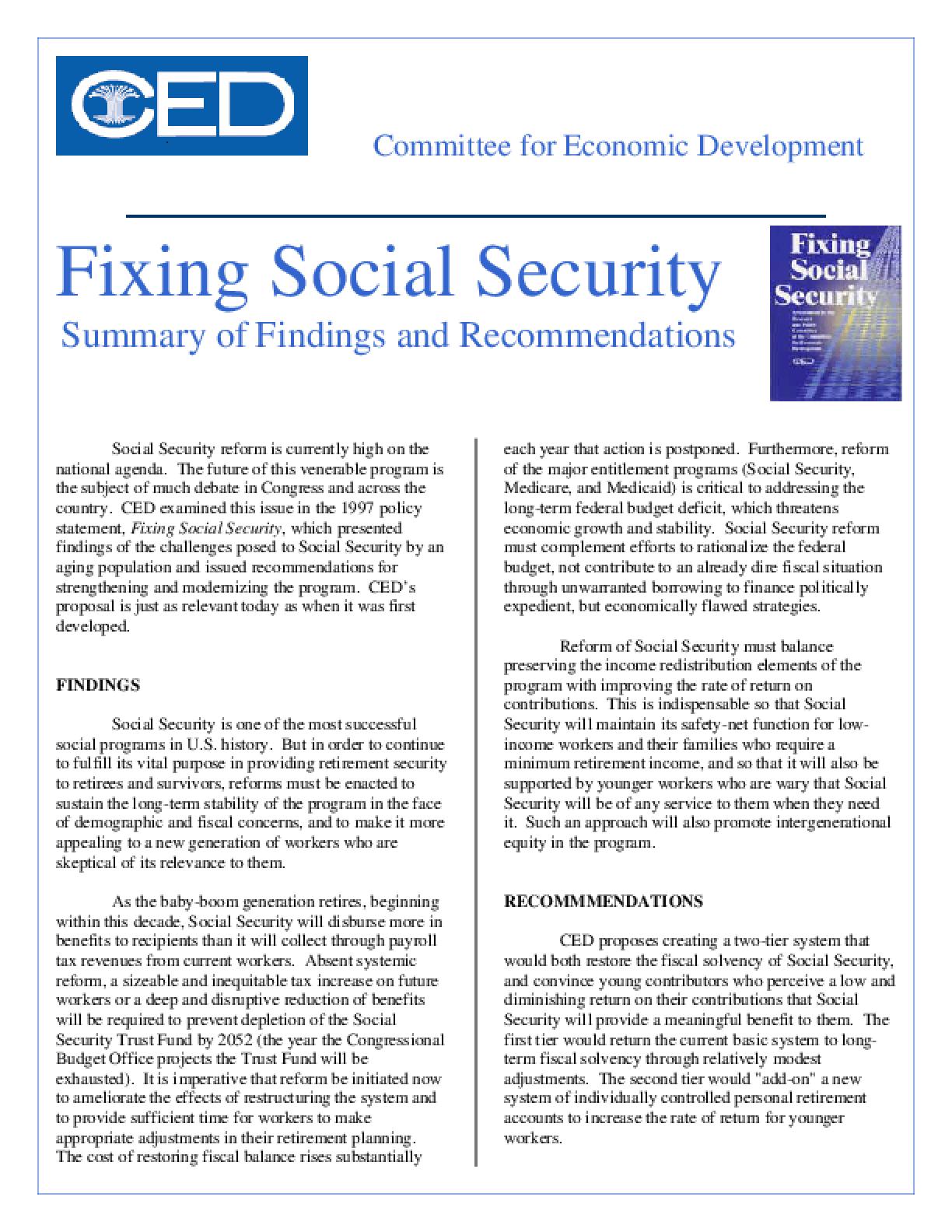 Fixing Social Security - Executive Summary