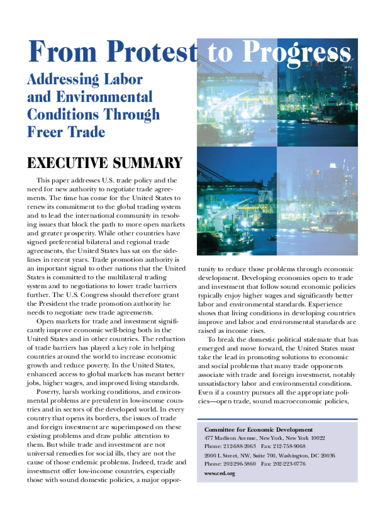 From Protest to Progress: Addressing Labor and Environmental Conditions Through Freer Trade - Executive Summary