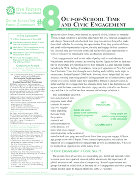 Out-of-School Time Policy Commentary #8: Out-of-School Time and Civic Engagement