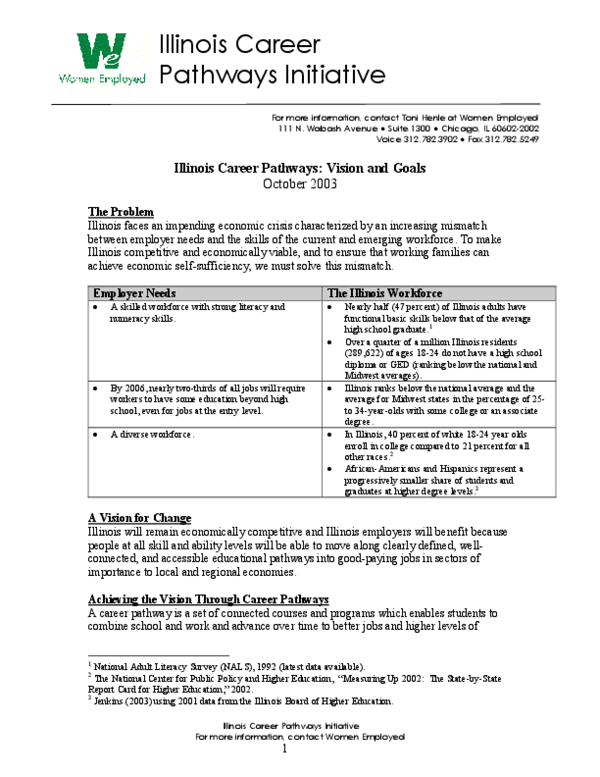 Illinois Career Pathways Initiative: Vision and Goals