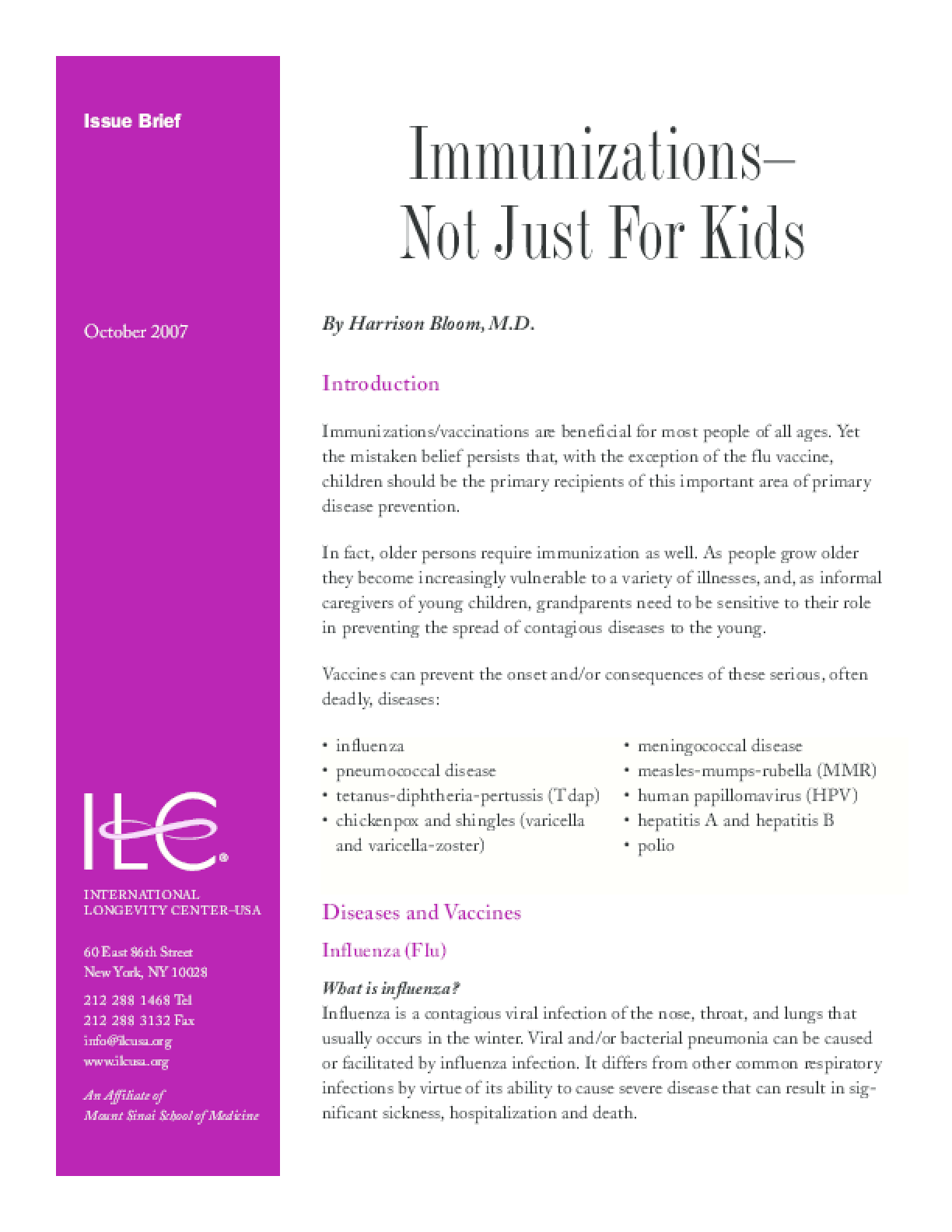 Immunizations - Not Just for Kids