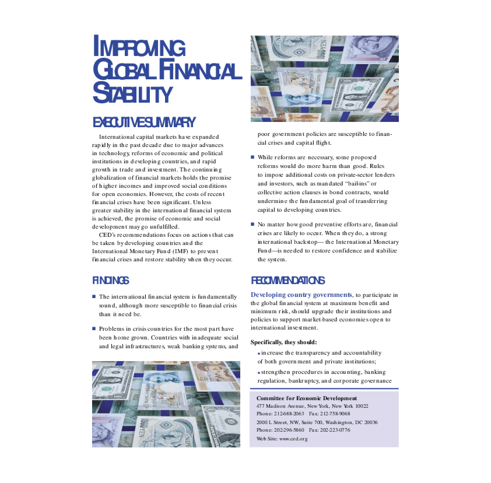 Improving Global Financial Stability - Executive Summary