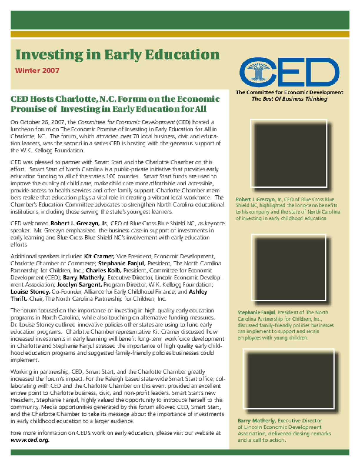 Investing in Early Education Newsletter: Winter 2007