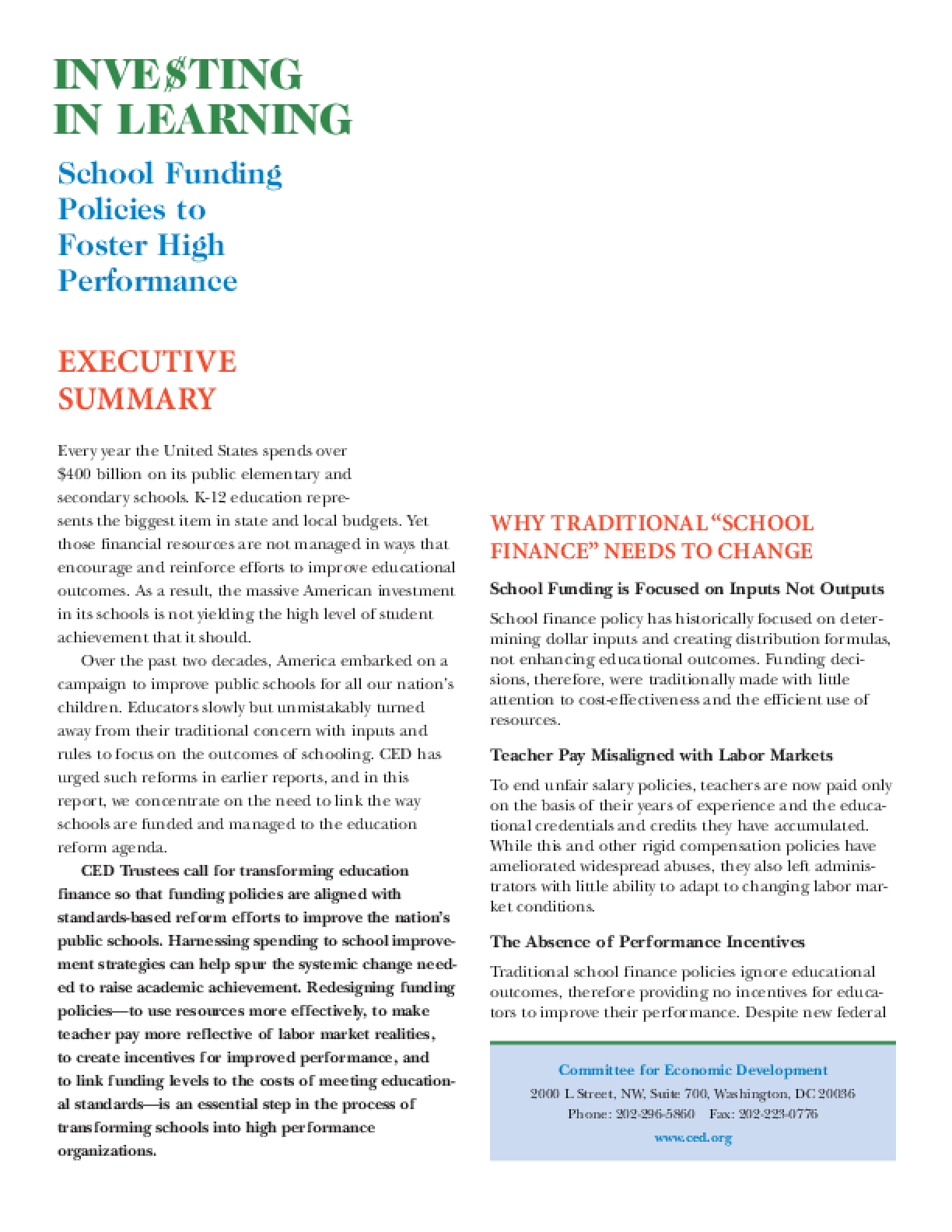 Investing in Learning: School Funding Policies to Foster High Performance - Executive Summary