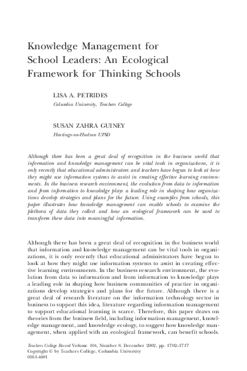 Knowledge Management for School Leaders: An Ecological Framework for Thinking Schools