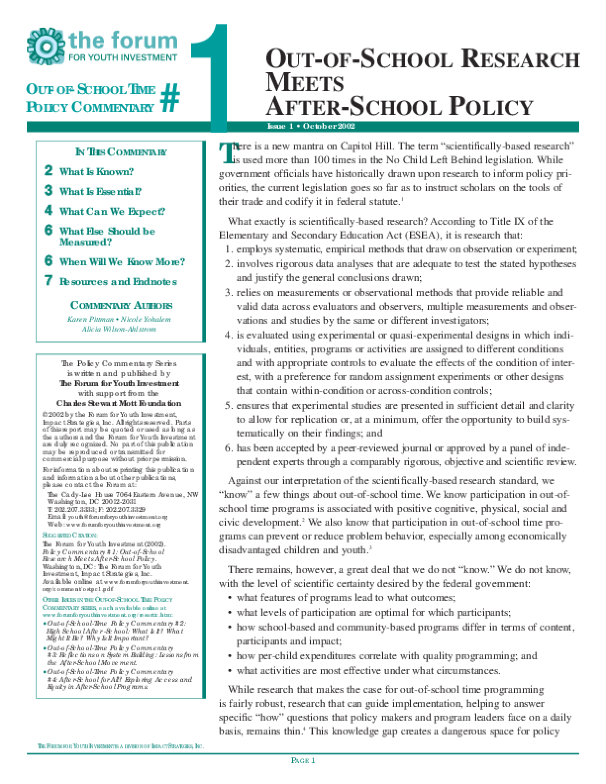 Out-of-School Time Policy Commentary #1: Out-of-School Research Meets After-School Policy