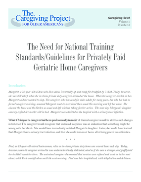 The Need for National Training Standards and Guidelines for Privately Paid Geriatric Home Caregivers