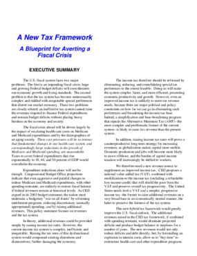 A New Tax Framework: A Blueprint for Averting a Fiscal Crisis - Executive Summary