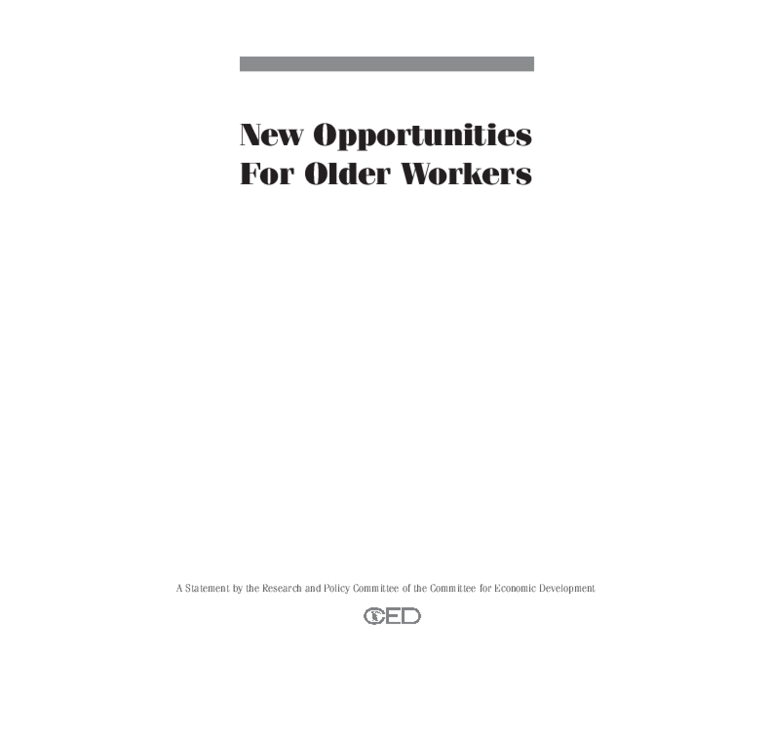 New Opportunities for Older Workers