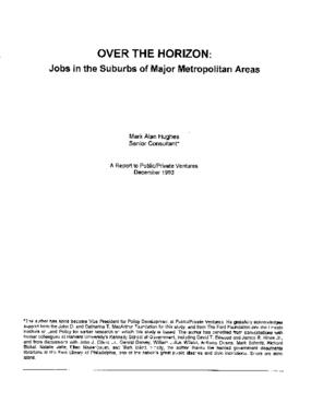 Over the Horizon: Jobs in the Suburbs of Major Metropolitan Areas