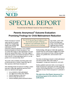 Parents Anonymous Outcome Evaluation: Promising Findings for Child Maltreatment Reduction