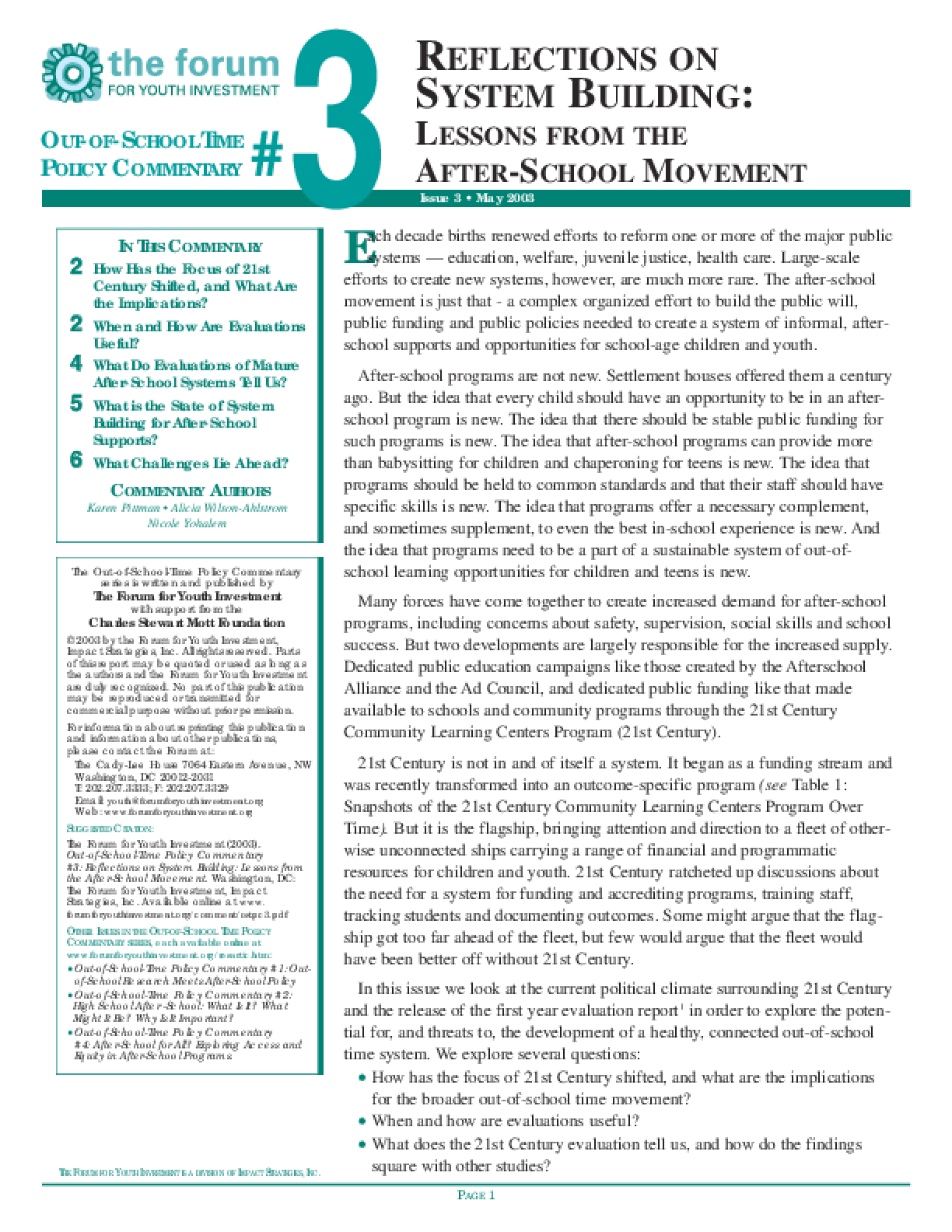 Out-of-School Time Policy Commentary #3: Reflections on System Building: Lessons from the After-School Movement
