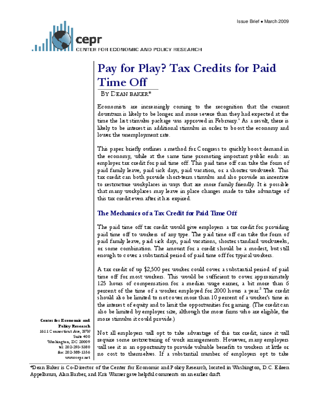 Pay for Play? Tax Credits for Paid Time Off