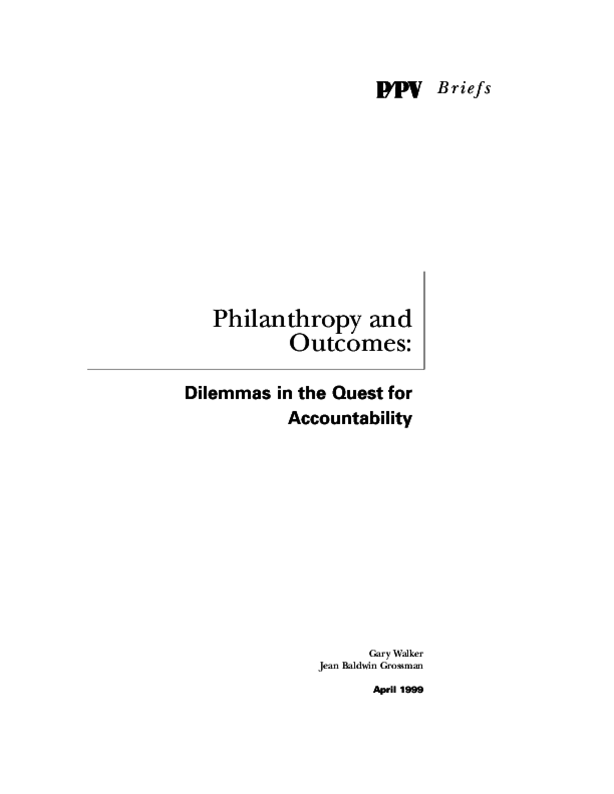 Philanthropy and Outcomes: Dilemmas in the Quest for Accountability