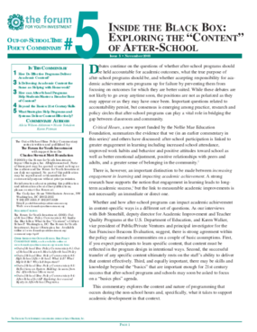"""Out-of-School Time Policy Commentary #5: Inside the Black Box: Exploring the """"Content"""" of After-School"""