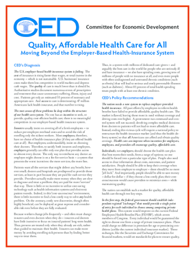 Quality, Affordable Health Care for All: Moving Beyond the Employer-Based Health-Insurance System - Executive Summary