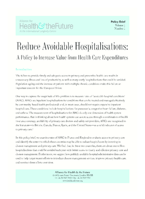 Reduce Avoidable Hospitalisations: A Policy to Increase Value from Health Care Expenditures