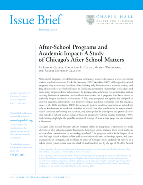 After-School Programs and Academic Impact: A Study of Chicago's After School Matters