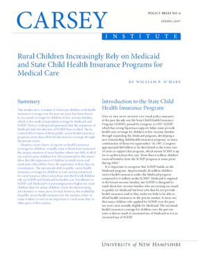 Rural Children Increasingly Rely on Medicaid and State Child Health Insurance Programs for Medical Care