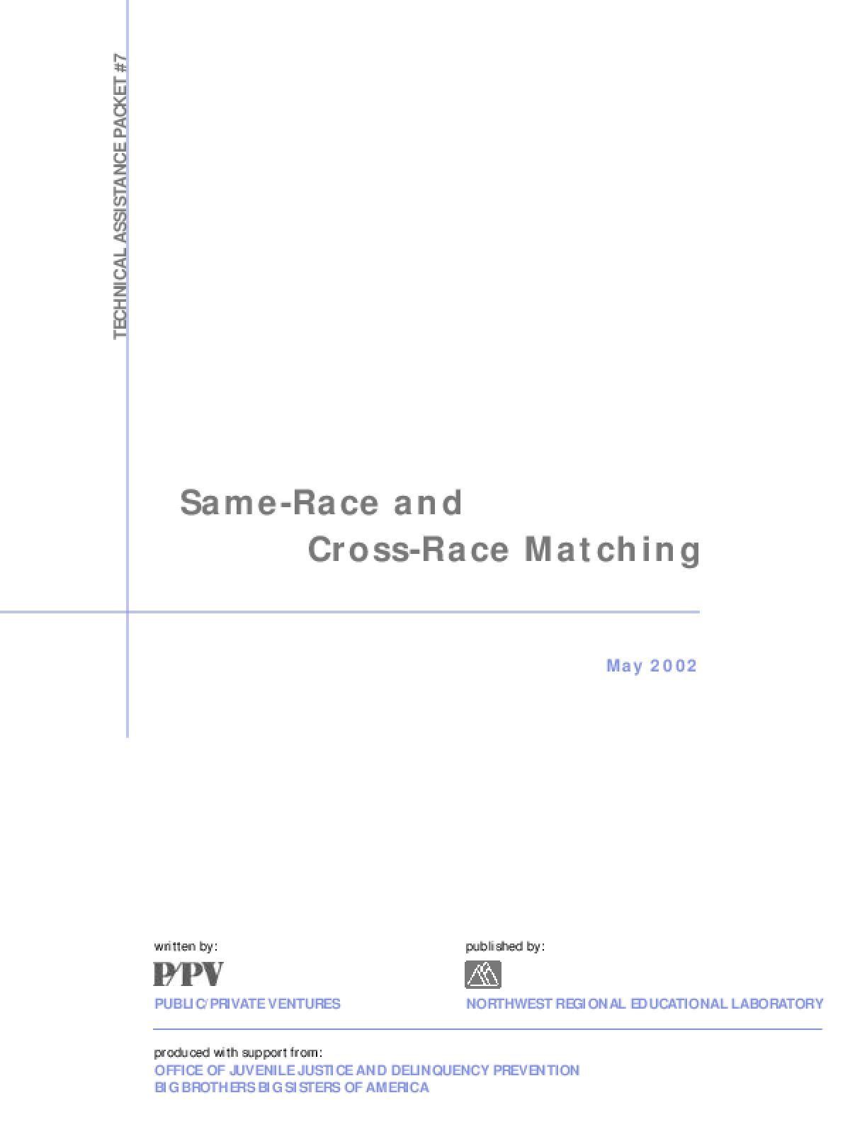 Same Race and Cross Race Matching