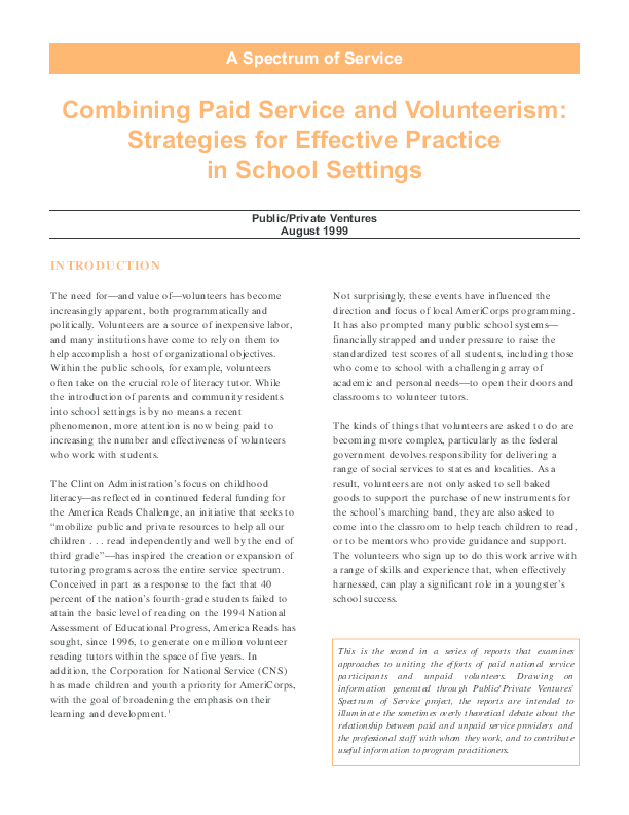 A Spectrum of Service: Combining Paid Service and Volunteerism: Strategies for Effective Practice in School Settings